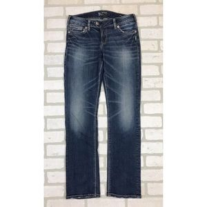 Silver Tuesday Low Straight Distressed Jeans 28